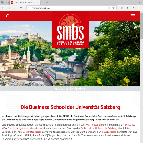 Oberfläche der neuen Homepage