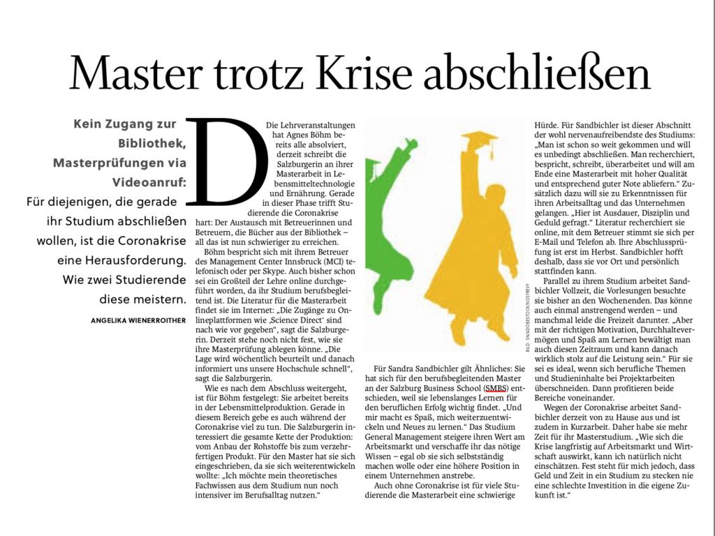 Salzburger Nachrichten Artikel_Master trotz Krise abschließen_02.05.20