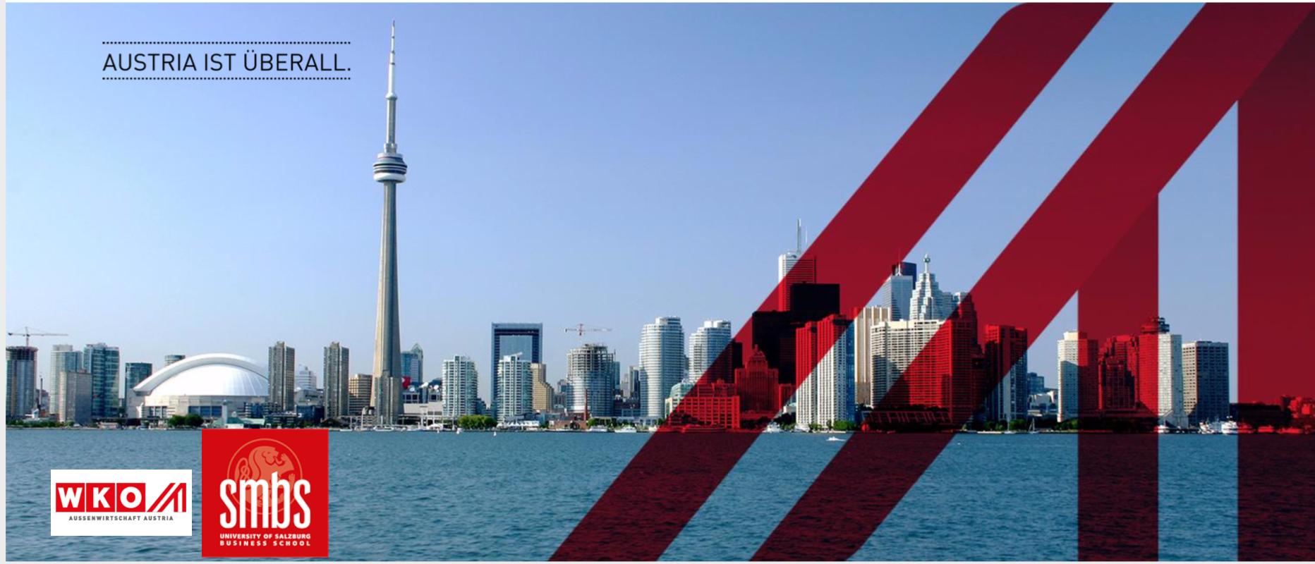 Bild von Torontos Skyline mit Logo von WKO und SMBS
