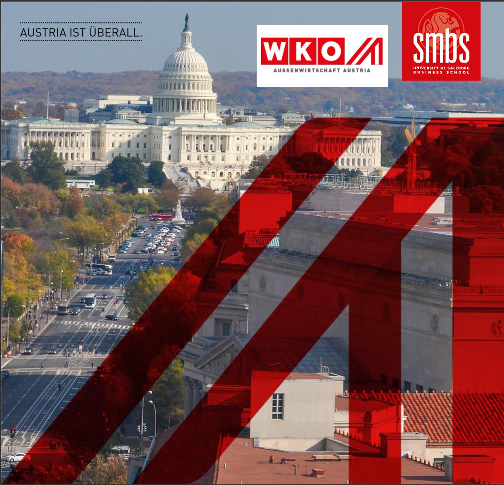 Bild von Washington D.C. mit Logo von WKO und SMBS